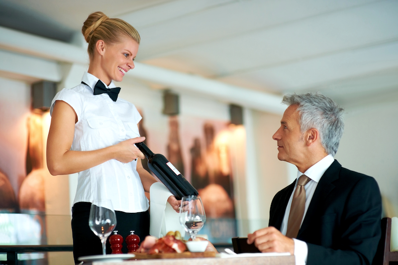 order wine in a restaurant